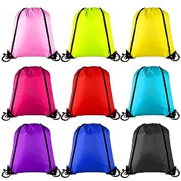 Keriber - Mochila con 9 colores y cordón ajustable, estilo bolsa de tela, para deporte, gimnasio y viajes, 9 unidades, mixed colour: Amazon.es: Deportes y ...