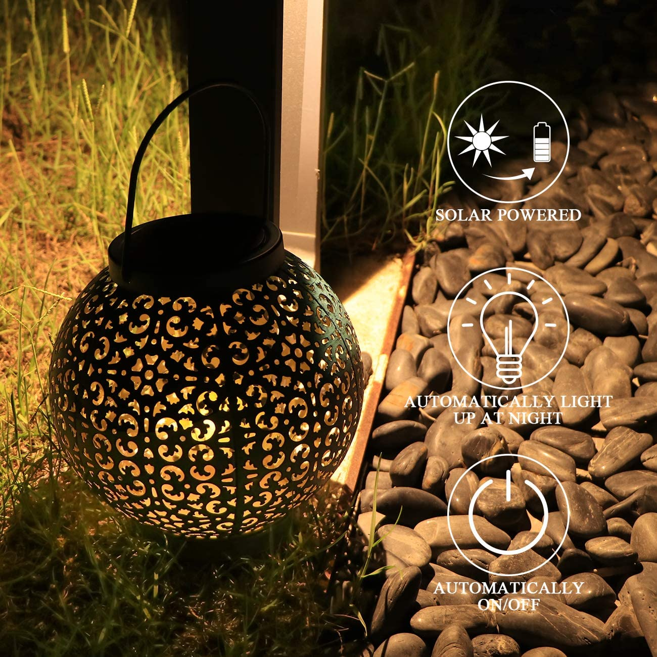 Solar Table Lights Outdoor Solar Powered Metal Ball Garden Light Decoration for Party,Yard,Patio Decorations