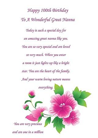 Great Nanna 100th Birthday Card