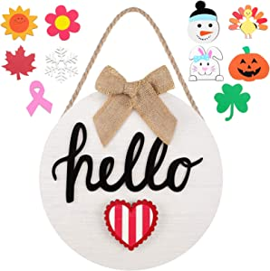 Interchangeable Seasonal Welcome Sign Front Door Hello Door Sign with 12 Changeable Patterns Our Home Hanging Sign Farmhouse Porch Wall Hanger for Irish Festival Easter Season (Hello)