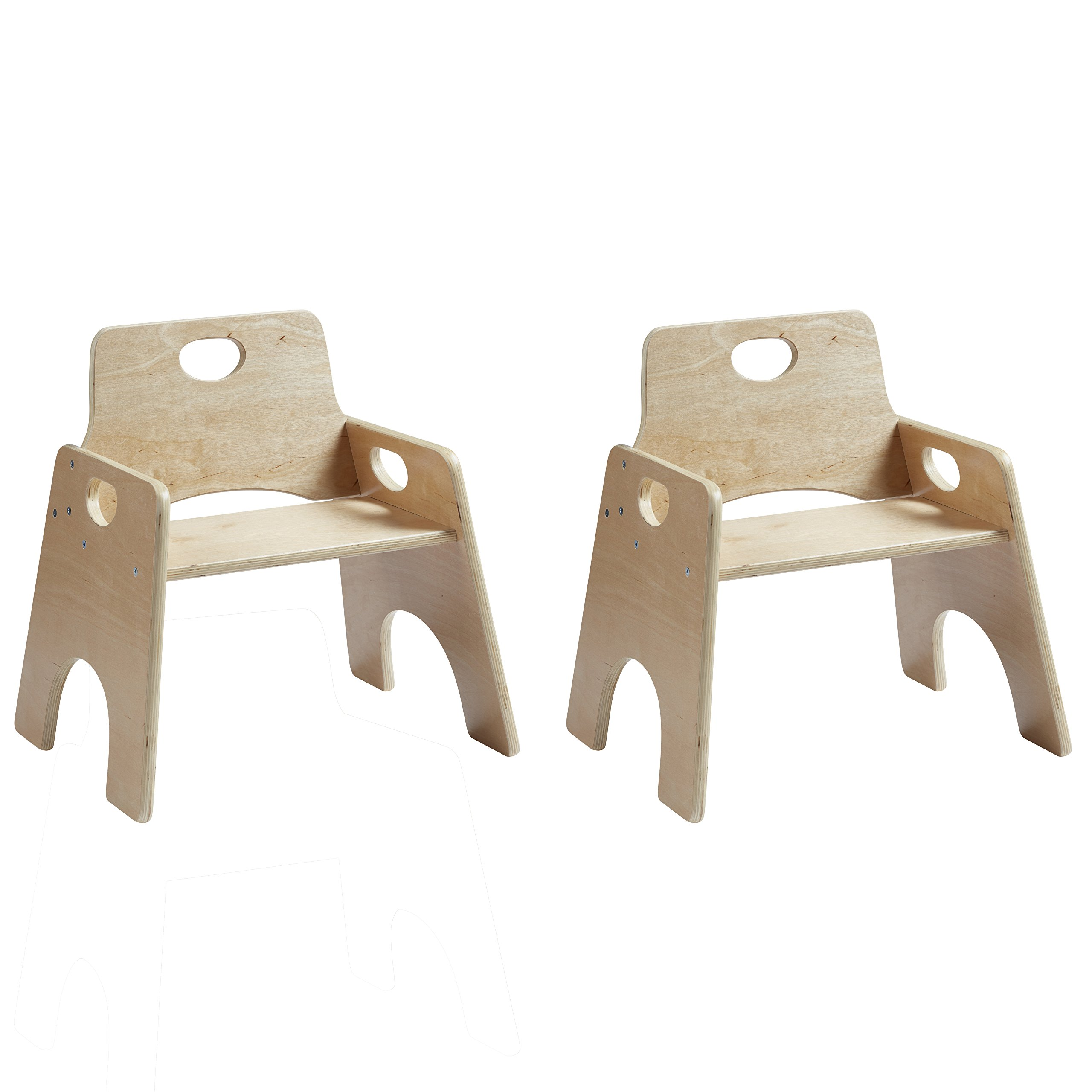 ECR4Kids 8'' Stackable Wooden Chair for Toddlers - Sturdy Hardwood Seat for Daycare/Preschool/Home Furniture -Natural Finish (2-Pack) by ECR4Kids