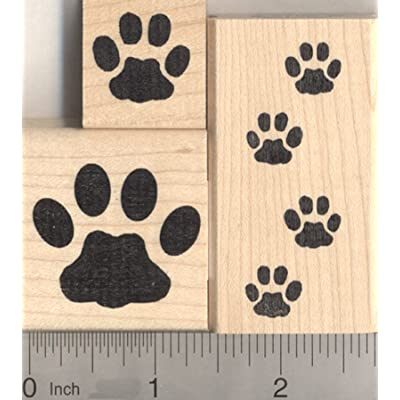 3 Piece Cat Paw Print Rubber Stamp Set: Arts, Crafts & Sewing