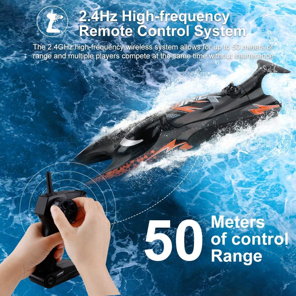 Makerstack JJRC S6 RC Barca Barca a Controllo remoto da 2,4 GHz Giocattoli motoscafo da Regata autoraddrizzante 6MPH per Piscine e Laghi
