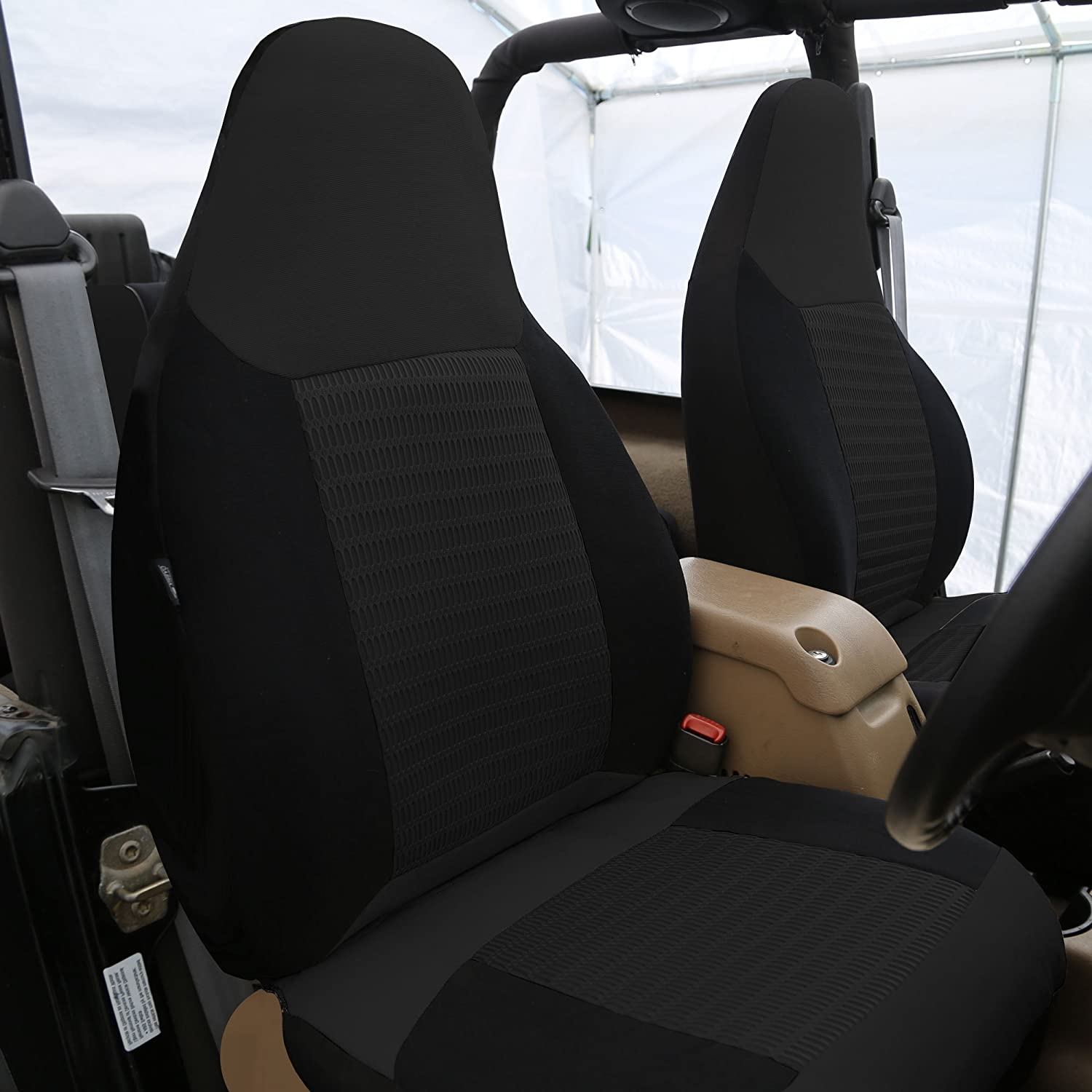 FH Group FB107BLACK102 Black Premium Fabric Bucket Car Seat Cover Airbag Compatible Set of 2