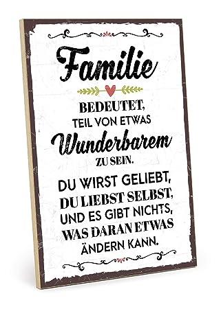 Typestoff Holzschild Mit Spruch Familie Bedeutet Teil Von Etwas