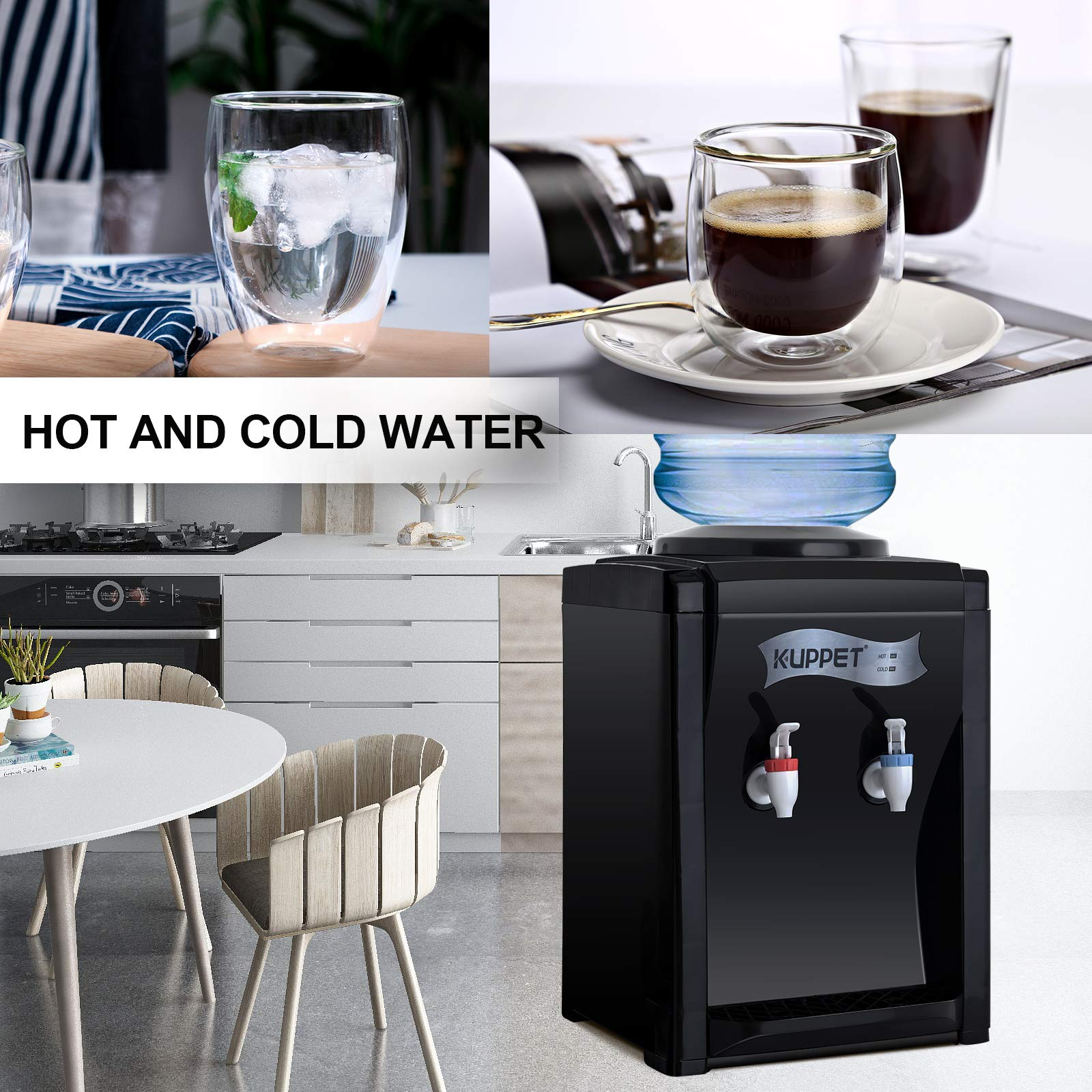 KUPPET 3-5 Gallon Countertop Water Cooler Dispenser-Hot & Cold Water, ideal For Home Office Use(17'', Black) by KUPPET (Image #8)