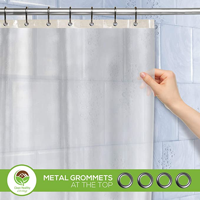 Clean Healthy Living Premium PEVA Shower Liner Curtain Odorless Mildew Resistant