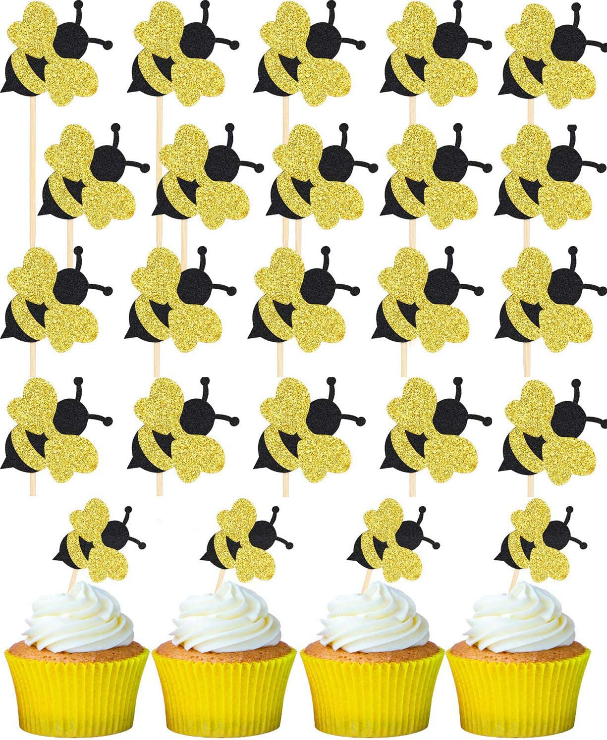 Gold Glitter Bumble Bee Cupcake Toppers Party Favor Decoration Cake Decoration for Birthday Party, Baby Shower, Wedding - 24 Pieces