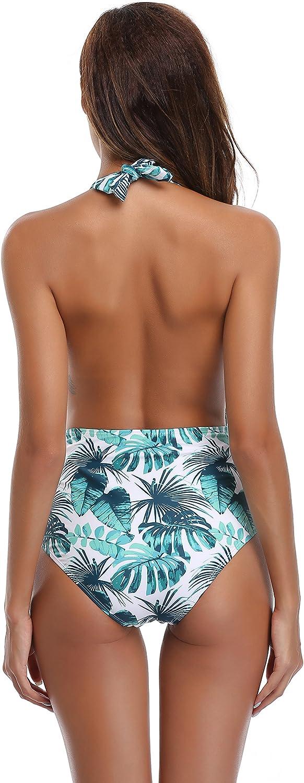 SHEKINI Damen Einteiliger Badeanzug Neckholder Monokini Schwimmanzug Bedruckter Halter Tiefer V-Ausschnitt R/ückenfrei Hohe Taille Gepolstert Badeanz/üge