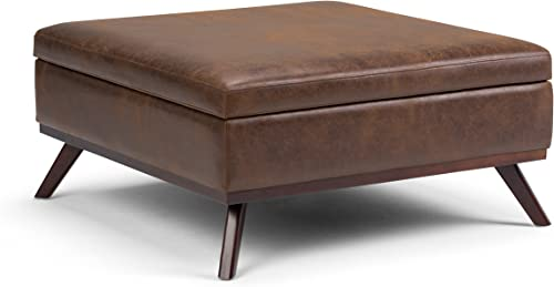 Simpli Home Owen 36 inch Wide Square Coffee Table Lift Top Storage Ottoman, Cocktail Footrest Stool in Upholstered Distressed Chesnut Brown Faux Air Leather, Mid Century Modern, Living Room