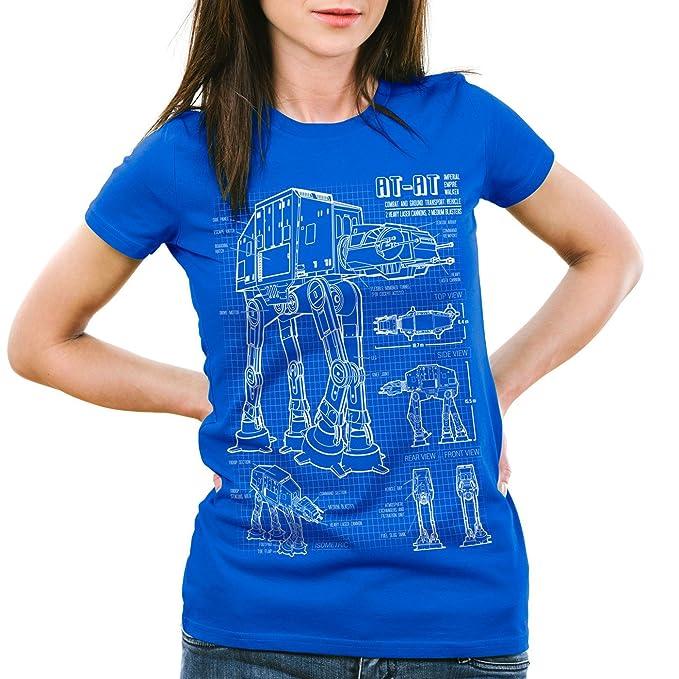 style3 AT-AT Cianotipo Camiseta para Mujer T-Shirt Fotocalco Azul ...