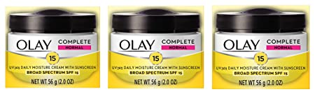 Face Moisturizer by Olay Complete All Day UV Moisture Cream, SPF 15, Normal Skin, 2 Ounce Pack of 3