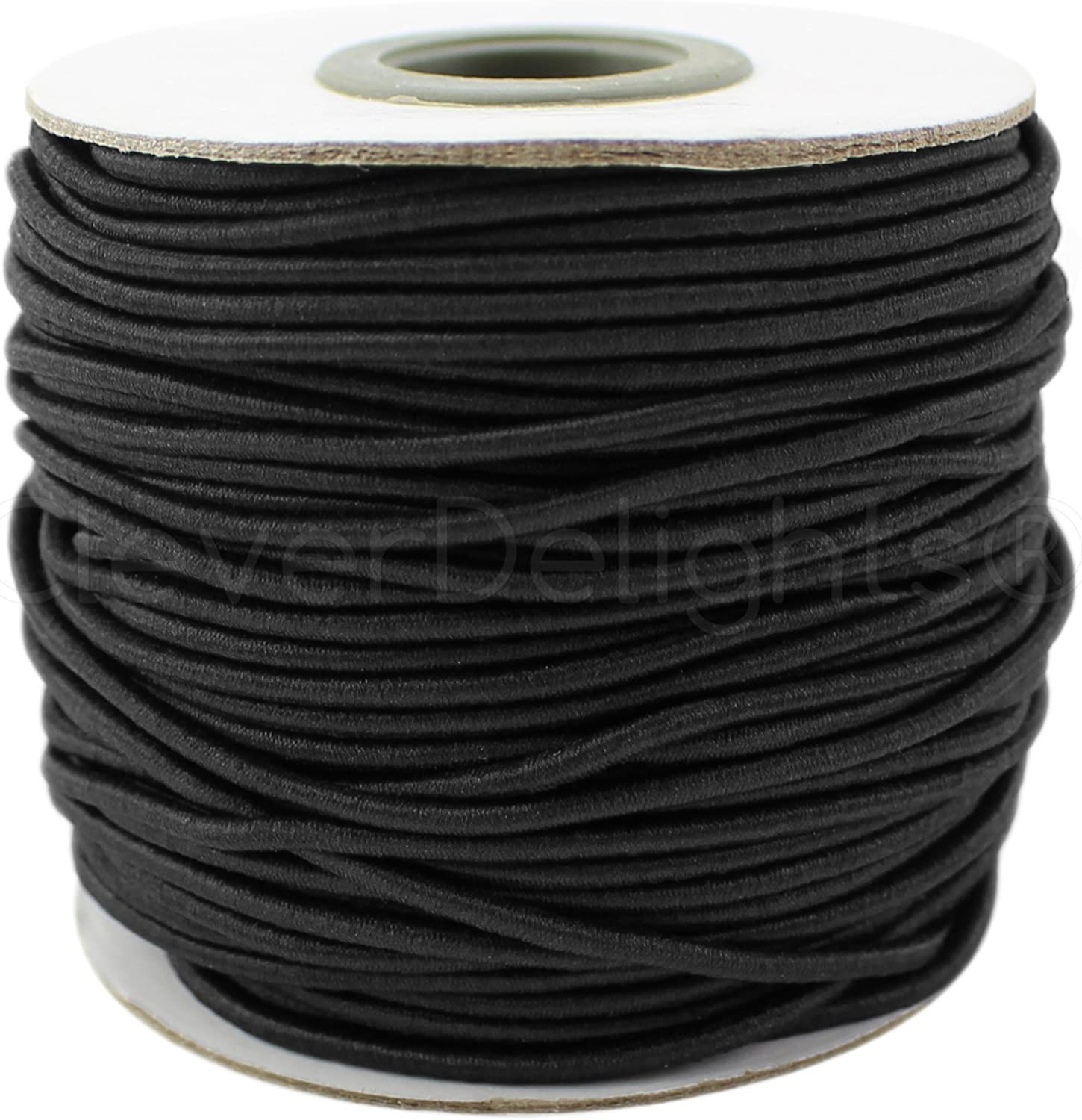 CleverDelights Black Fabric Elastic Cord Crafts Beading Jewelry Stretch Shock Cording 10 Yards 2mm