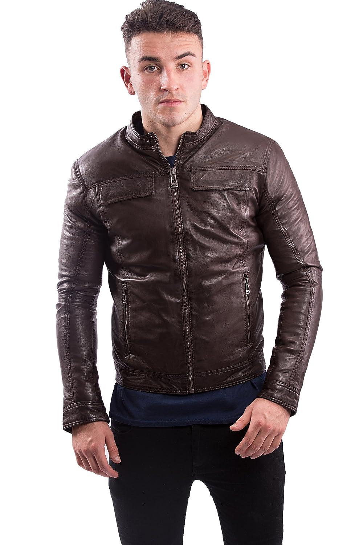 LISANDRO Men's Genuine Lambskin Leather Biker Jacket