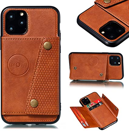 Magnetic Detachable Wallet Phone Case with Card Slots Full Genuine Leather iPhone 12 Mini Vintage Brown iPhone 12 Mini Back Cover 5.4