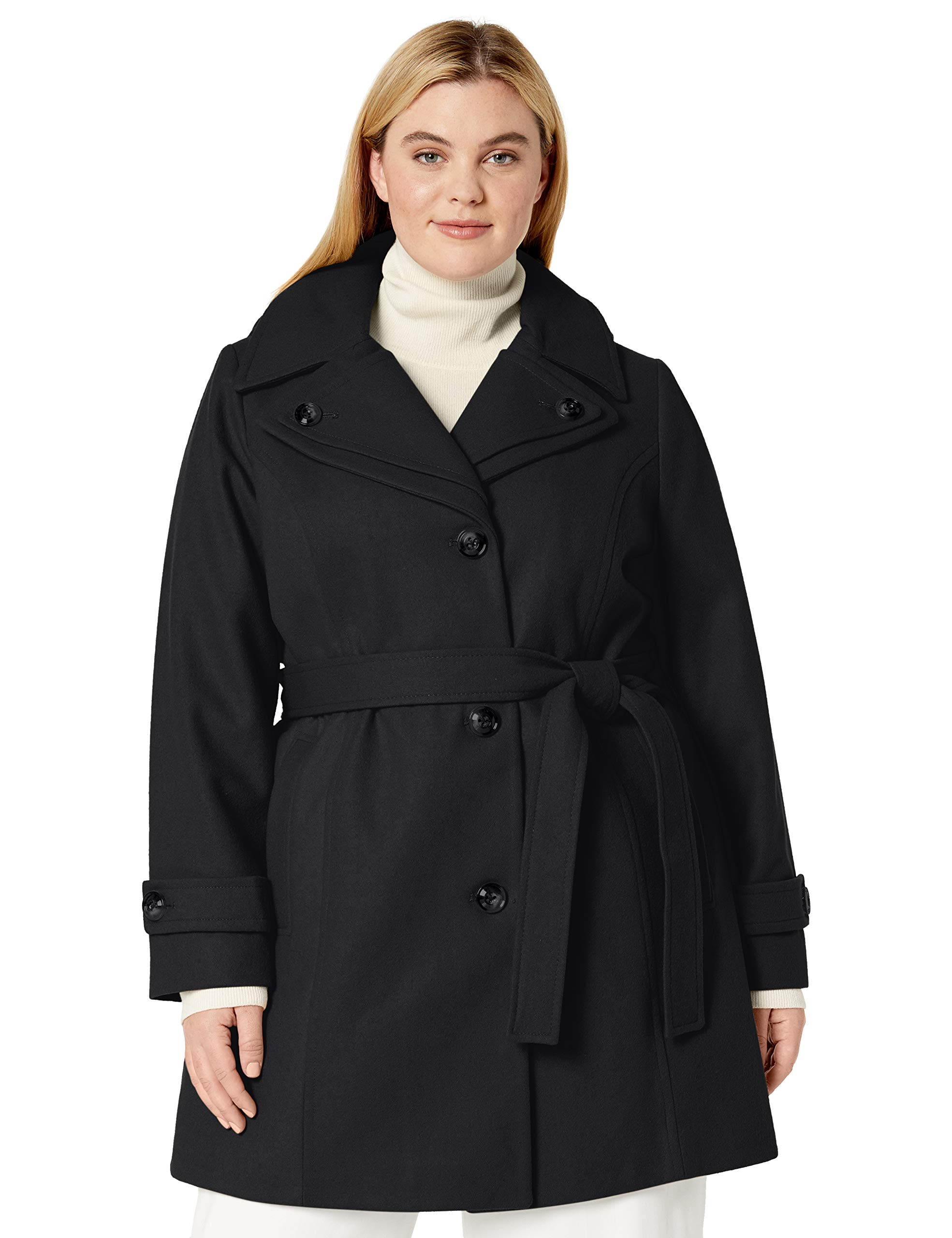 LONDON FOG Women's Double Lapel Thigh Length Button Front Wool Coat with Belt