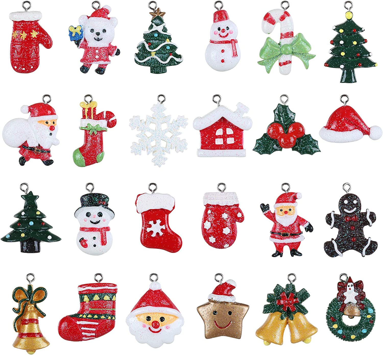 GWHOLE 24 Piezas Dije Colgante de Navidad Decoración navideña Resina Miniatura Papá Noel Árbol de Navidad Copo de Nieve para decoración navideña Adorno Artesanía DIY