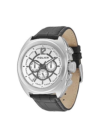 POLICE PL.13403JS/04 - Reloj analógico para hombre, correa de cuero color negro: Amazon.es: Relojes