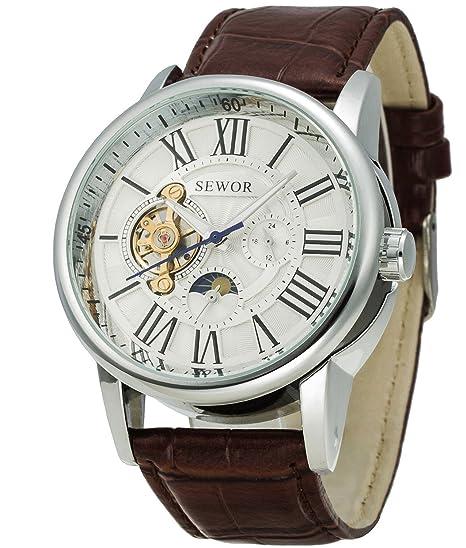 Sewor Tourbillon - Reloj de pulsera mecánico automático para hombre, correa de piel, tamaño