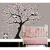 LUCKKYY Three Playful Pandas Bear on Cherry Blossom Tree wall decal Tree wall sticker Nursery and Children's Room (pink)