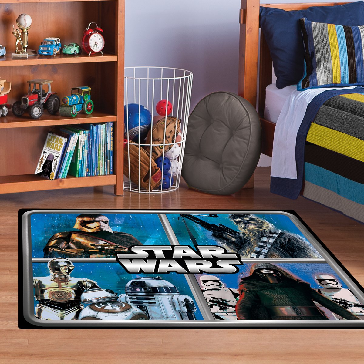 "Star Wars Rug HD ep 7 Chewbacca, R2D2, Captain Phasma, Kylo Ren Bedding Wall Decals Blue Area Rugs , 40""x56"""