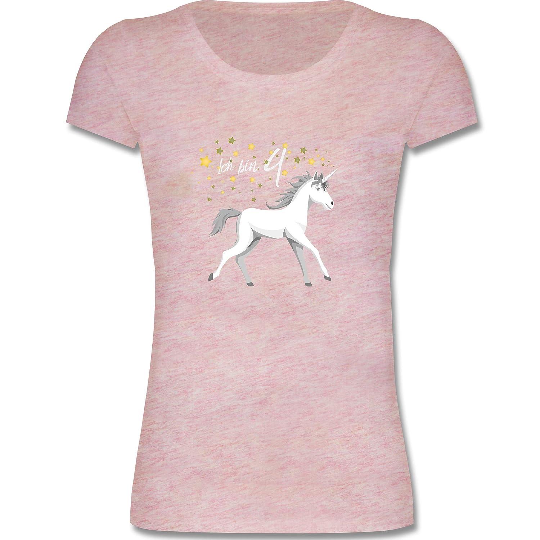 Geburtstag Kind - 4. Geburtstag Einhorn - Mädchen T-Shirt Shirtracer F288K