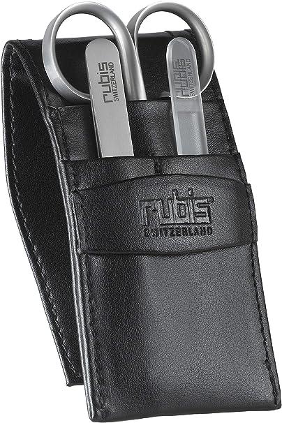 Rubis – Estuche de manicura en piel de color negro con 3 utensilios: Amazon.es: Belleza