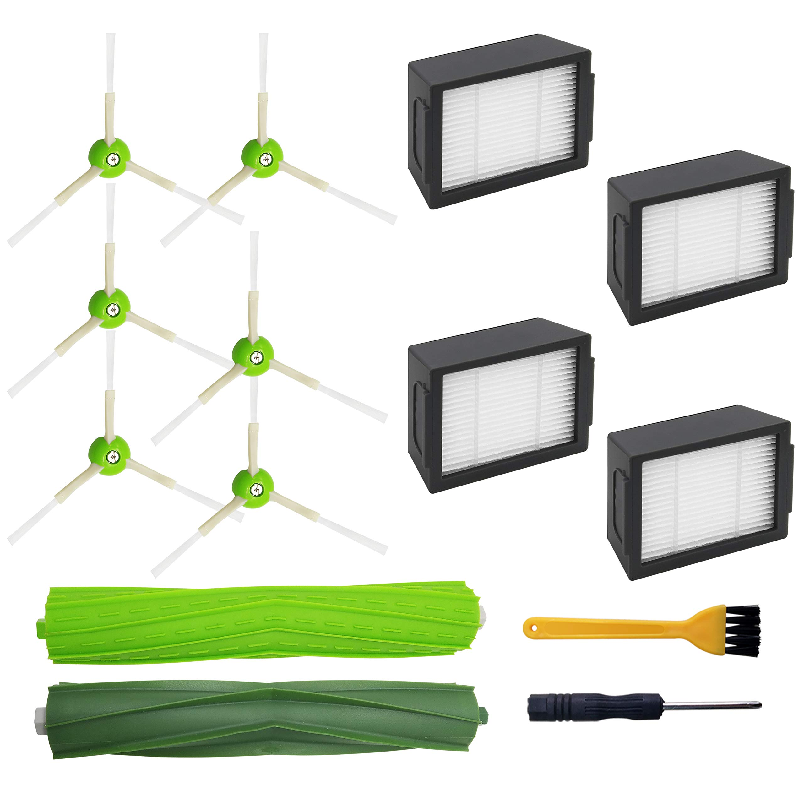 IBosins Replacement Parts Compatible with iRobot Roomba, 4 High-Efficiency Filters, 6 Edge-Sweeping Brushes, 1 Set of Multi-Surface Rubber Brushes for iRobot Roomba i7, i7+, E5, E6, E7 Series