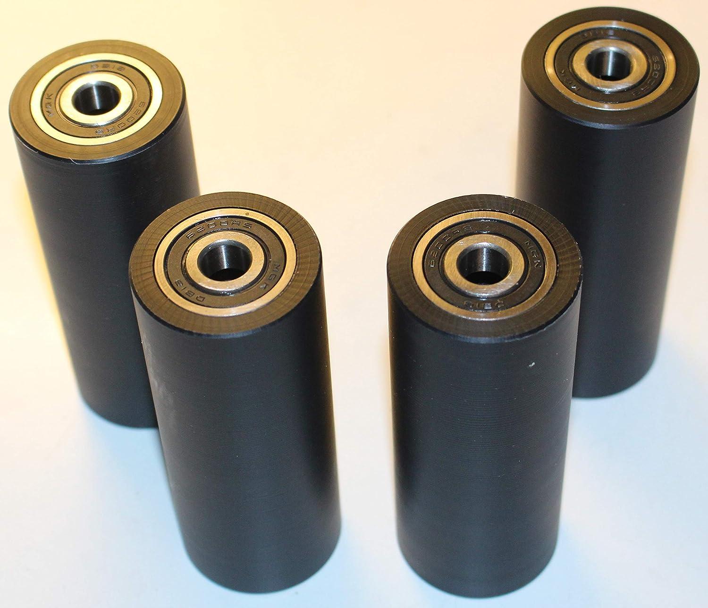4 rodillos de poliamida de nailon negro de 40 mm de di/ámetro y 100 mm de ancho y 10 mm de rodamiento mecanizado con precisi/ón en la UE 40-100-10- negro