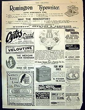 Píldoras 1897 de Fisher Carters de la Máquina De Escribir de Remington del Anuncio del Jarabe