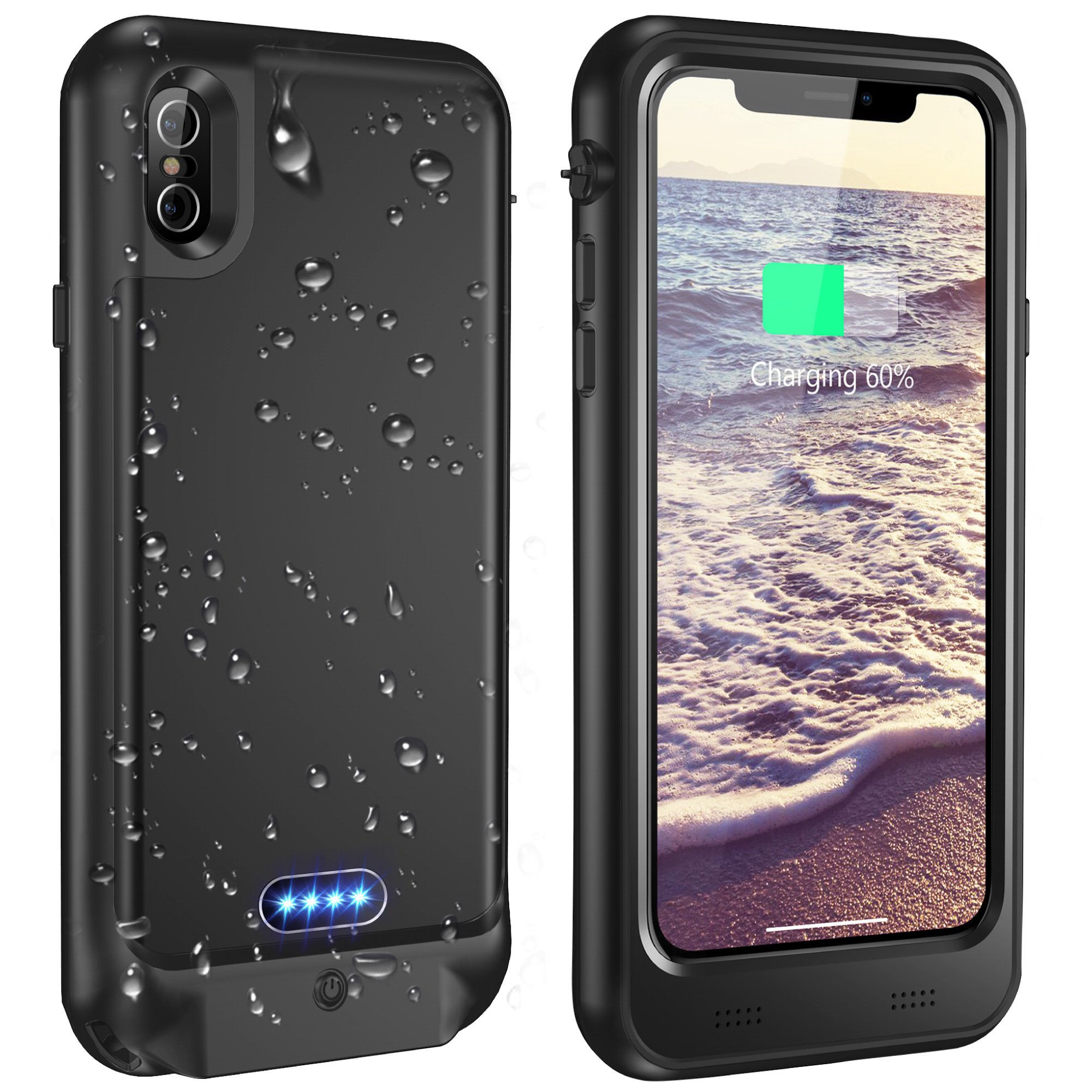 Vapesoon iPhone X/iPhone Xs Waterproof Battery Case Qi Wireless Charging Compatible 5.8-inch 3600mAh Slim Rechargeable Extended Protective Portable Charger Case for iPhone X/iPhone Xs - Black by Vapesoon