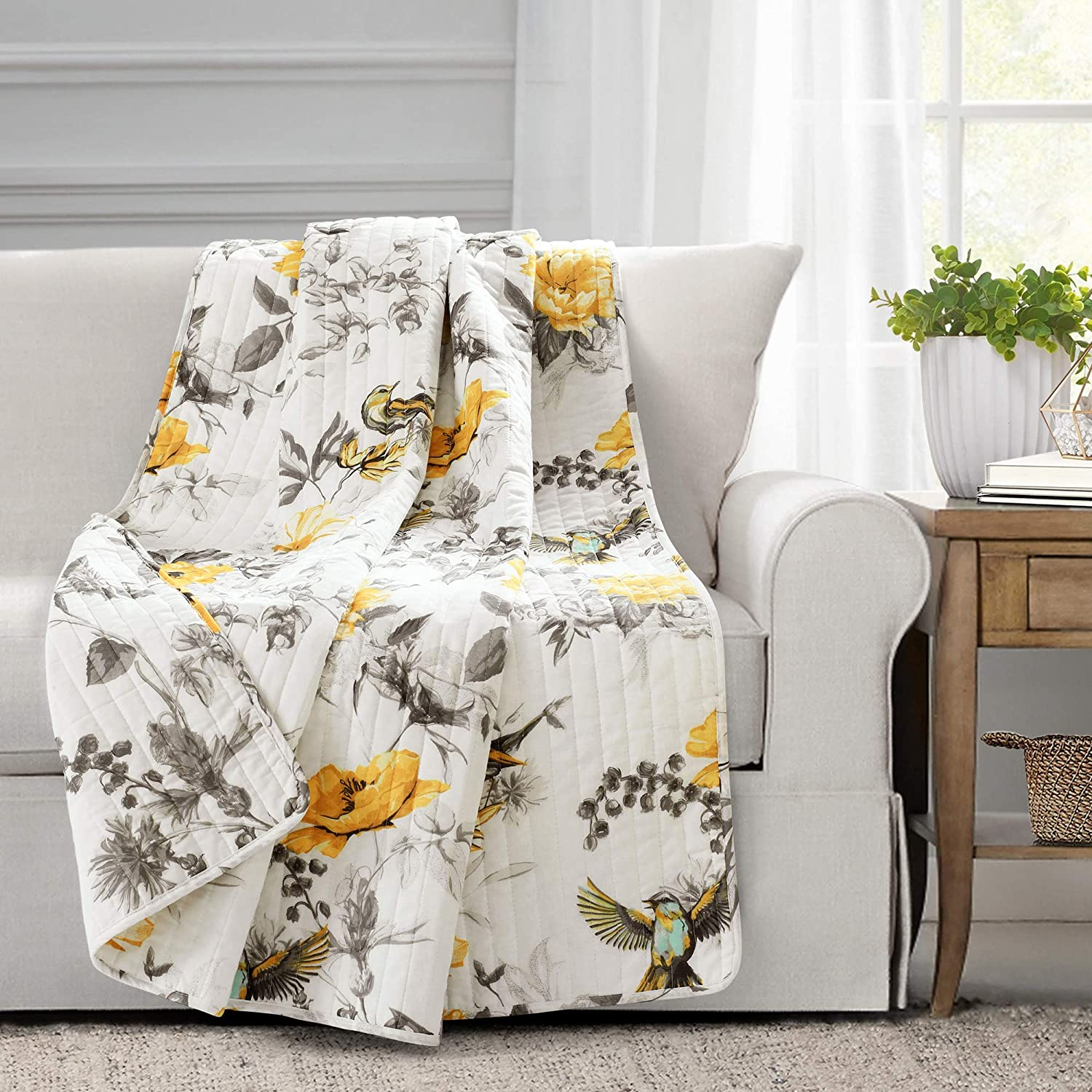 "Lush Decor, Yellow and Gray Penrose Floral Throw Blanket, 60"" x 50"""