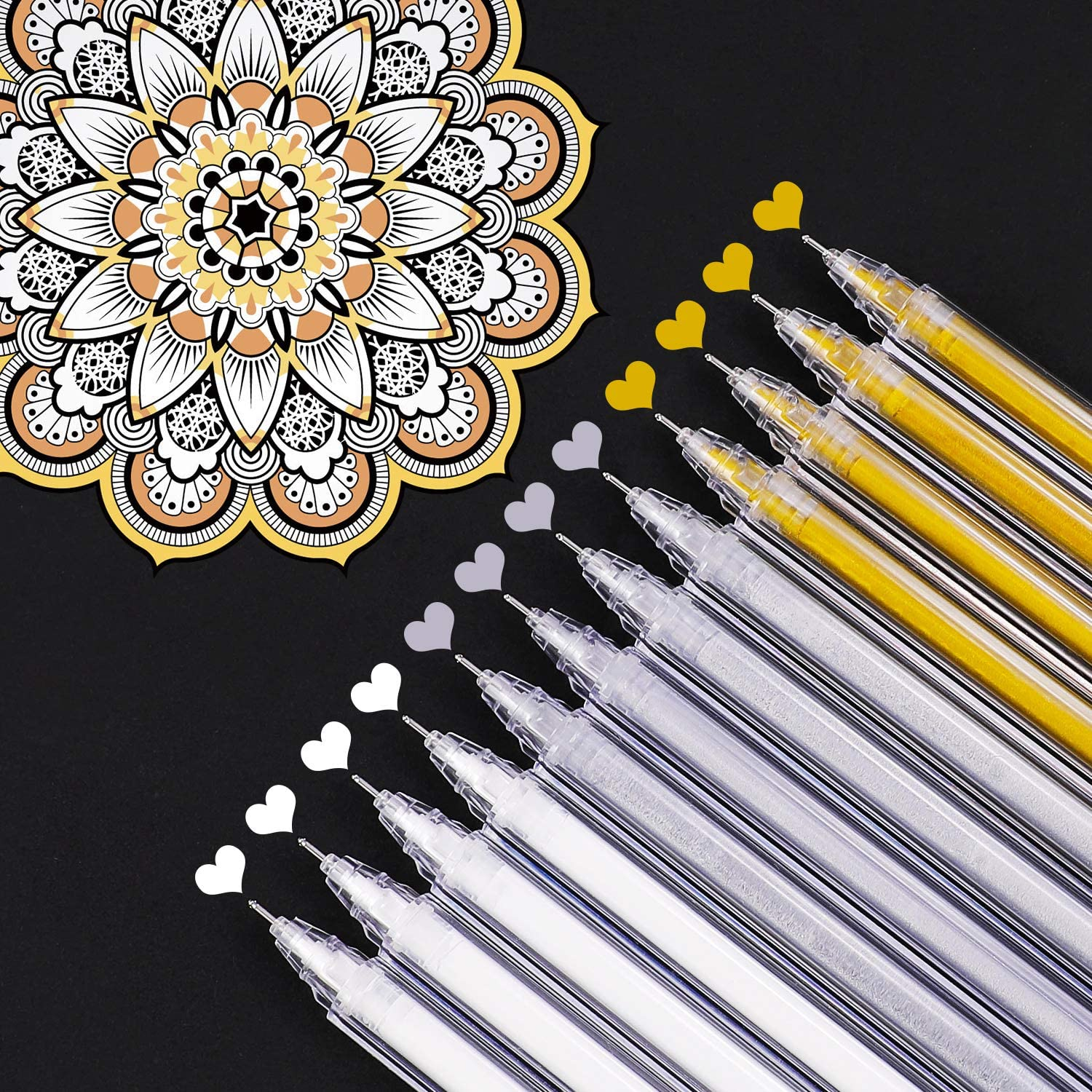 12-Piece Fine Point Tip White Gel Pens for Black Paper Drawing Sketching Pens for Artists and Beginner Painters Adult Coloring Rocks Painting Dyvicl White Ink Pens Illustration