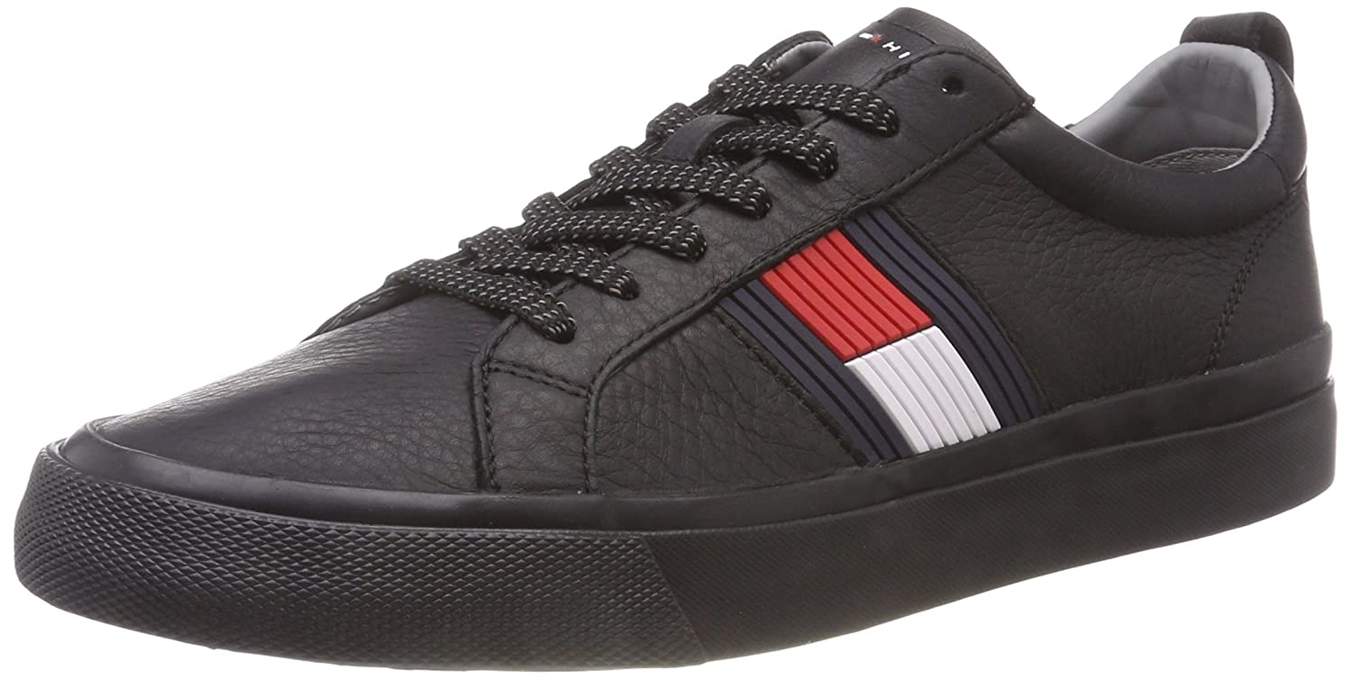 TALLA 45 EU. Tommy Hilfiger Flag Detail Leather Sneaker, Zapatillas para Hombre