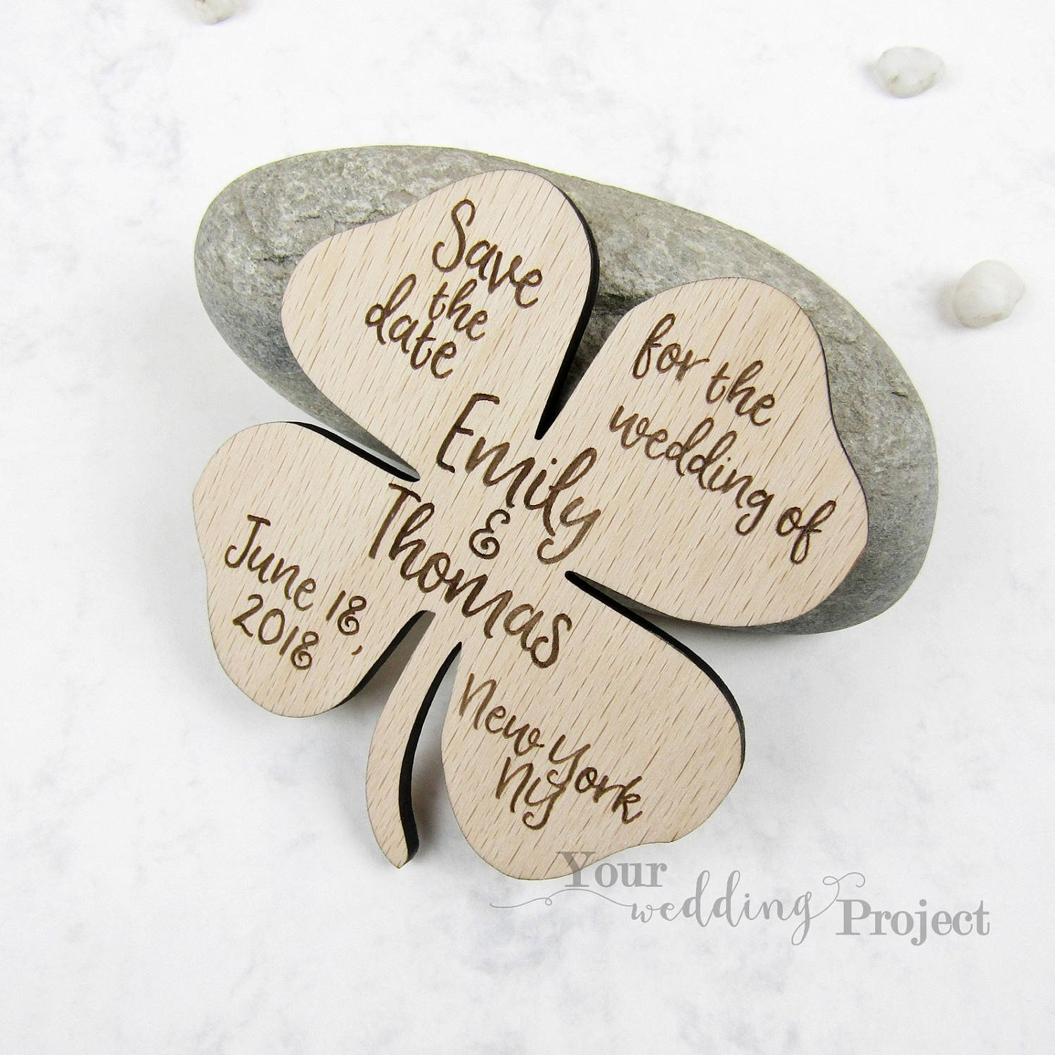 Amazon.com: Save the Date Magnet, Lucky Clover Save the Date, Wood ...
