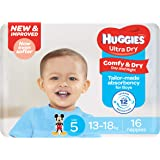 Huggies Ultra Dry Nappies, Boys, Size 5 Walker (13-18kg), 16 Count
