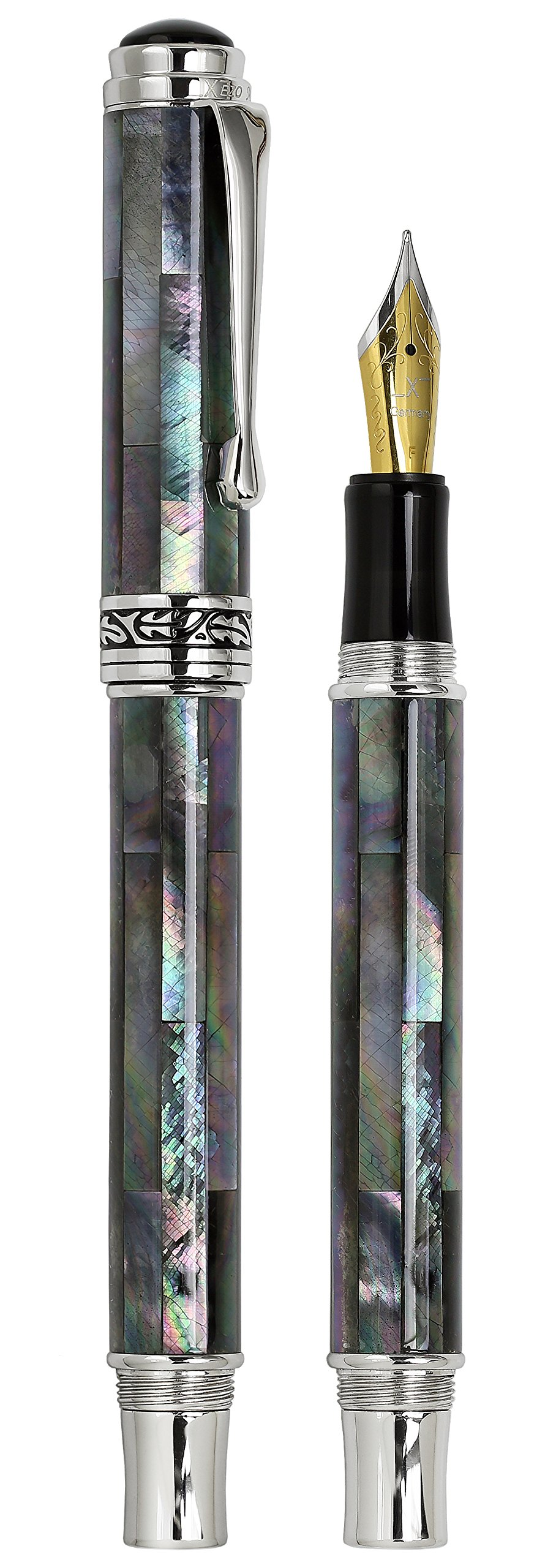 Xezo Maestro Iridescent Natural Black Mother of Pearl Platinum Plated Fine Fountain Pen. No Two Pens Alike by Xezo (Image #2)