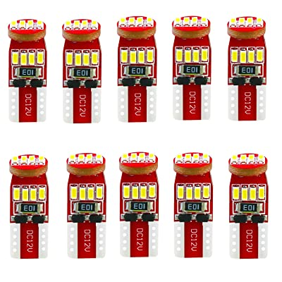 Alla Lighting 194 LED Bulb Interior Car Lights 168 2825 W5W T10 Extremely Super Bright 3014 Chipset Non-polarity LED 194 Bulb for License Plate Dome Map Door Courtesy Parking Trunk Lights (Pack of 10): Automotive
