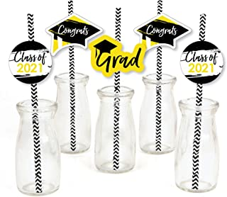 product image for Big Dot of Happiness Yellow Grad - Best is Yet to Come - Paper Straw Decor - Yellow 2021 Graduation Party Striped Decorative Straws - Set of 24