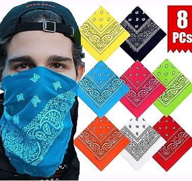 vamei 8 Piezas Pañuelos Bandanas para Cabeza y Cuello Multicolor Múltiple de Algodón Bufanda de Paisley para Hombre y Mujer: Amazon.es: Coche y moto