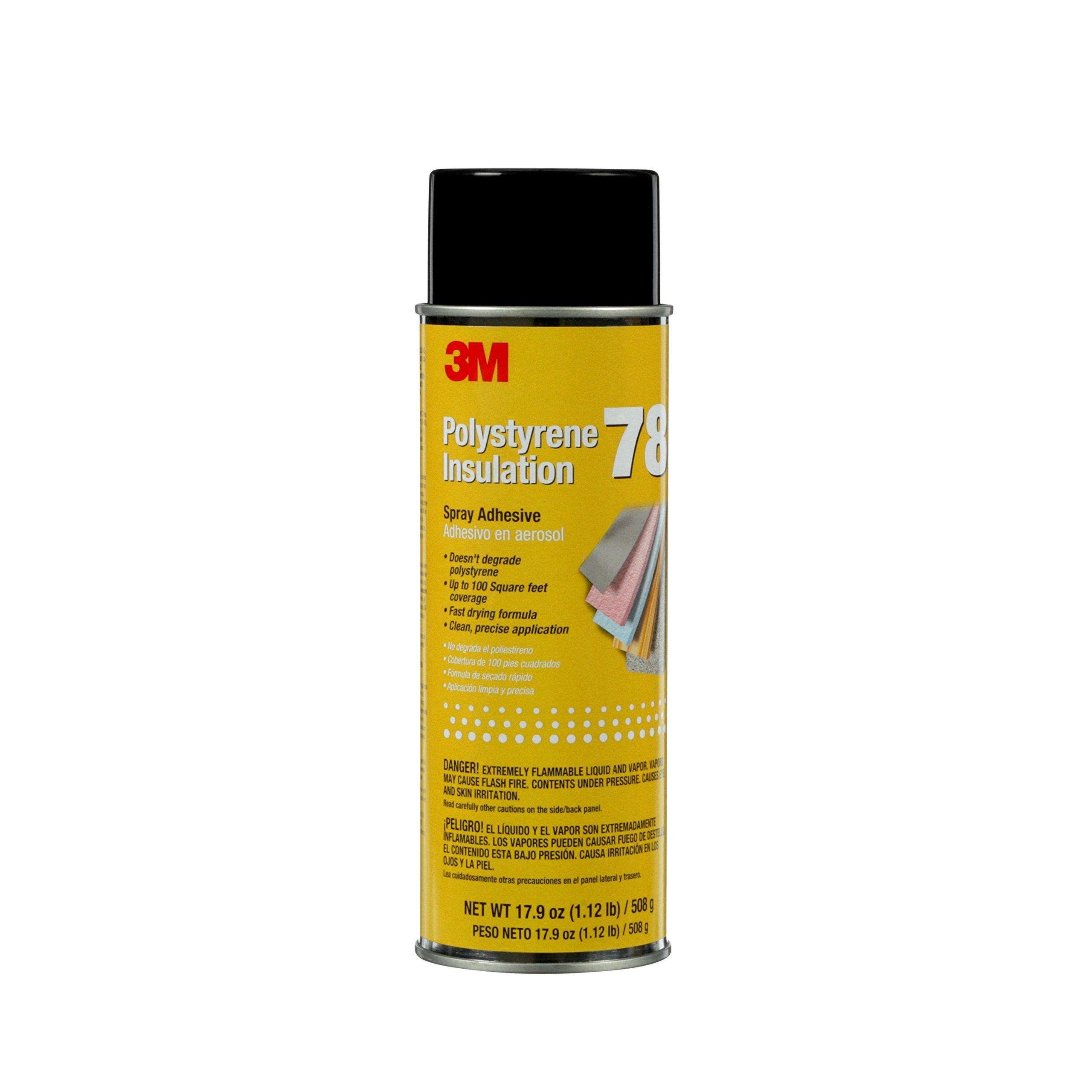 3M 78 Polystyrene Foam Insulation Spray Adhesive, Translucent 17.9 Oz. Aerosol Can