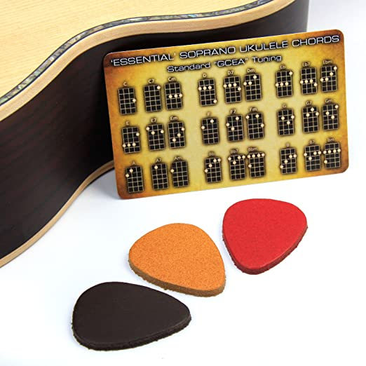 3 pack of Quality UK-made Leather Plectrums/Picks for Ukulele ...