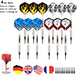 ARIZZ 12 Pcs Soft Tip Darts 17 Grams with 8 Style 24 Flights and 24 Soft Tip Points for Electronic Dartboards