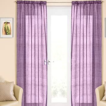 Purple Silver Sparkle Voile Curtain Panel Slotted Top 54