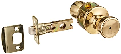 Design House 728311 Terrace 6 Way Latch Privacy Door Knob, Polished Brass