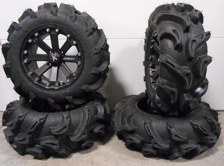 4x110 Bolt Pattern 10mmx1.25 Lug Kit 9 Items Bundle MSA Black Kore 14 ATV Wheels 27 Mega Mayhem Tires