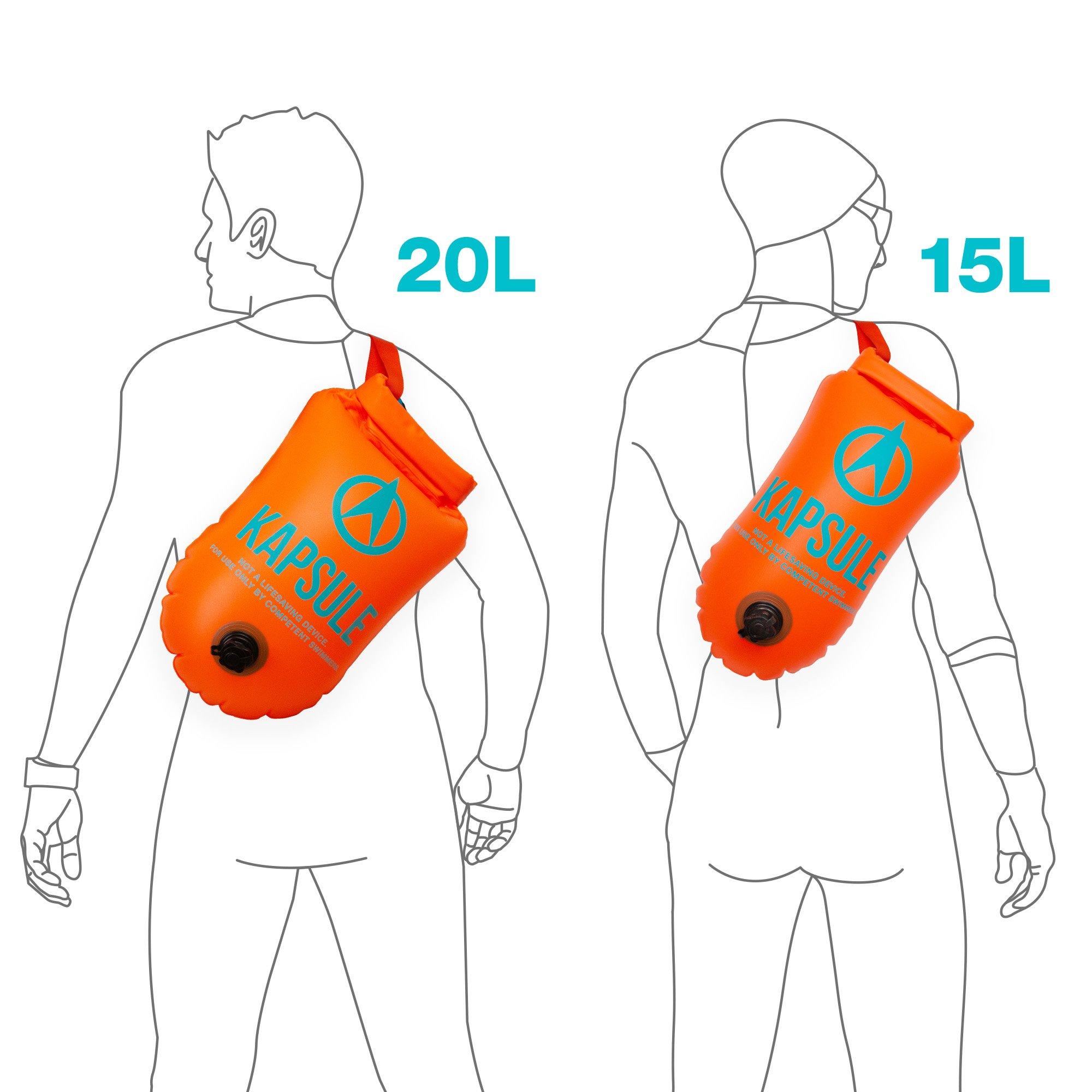 KAPSULE Swim Buoy (NEON 20L Orange) - Personal Swimming Float and Dry Bag by KAPSULE (Image #4)