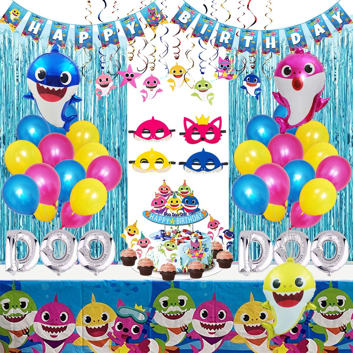 Shark Party Supplies for Baby, 77 pcs Shark Theme Birthday Party Decorations for Kids - Includes Shark Masks, Hanging Swirl, Little Shark Balloons, Foil Curtains, Table Cloth, Banner, Toppers