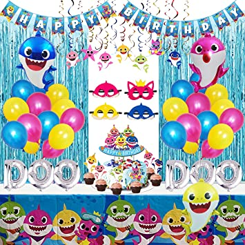 Amazon.com: Shark Party Supplies para bebé, 77 piezas de ...