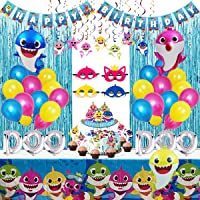 Shark Party Supplies for Baby, 77 pcs Shark Theme Birthday Party Decorations for Kids - Includes Shark Masks, Hanging…